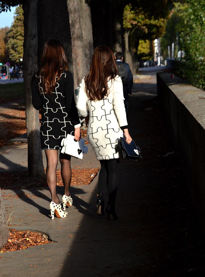 tana rendon y talia echecopar puzzle dress streetstyle paris fashion week