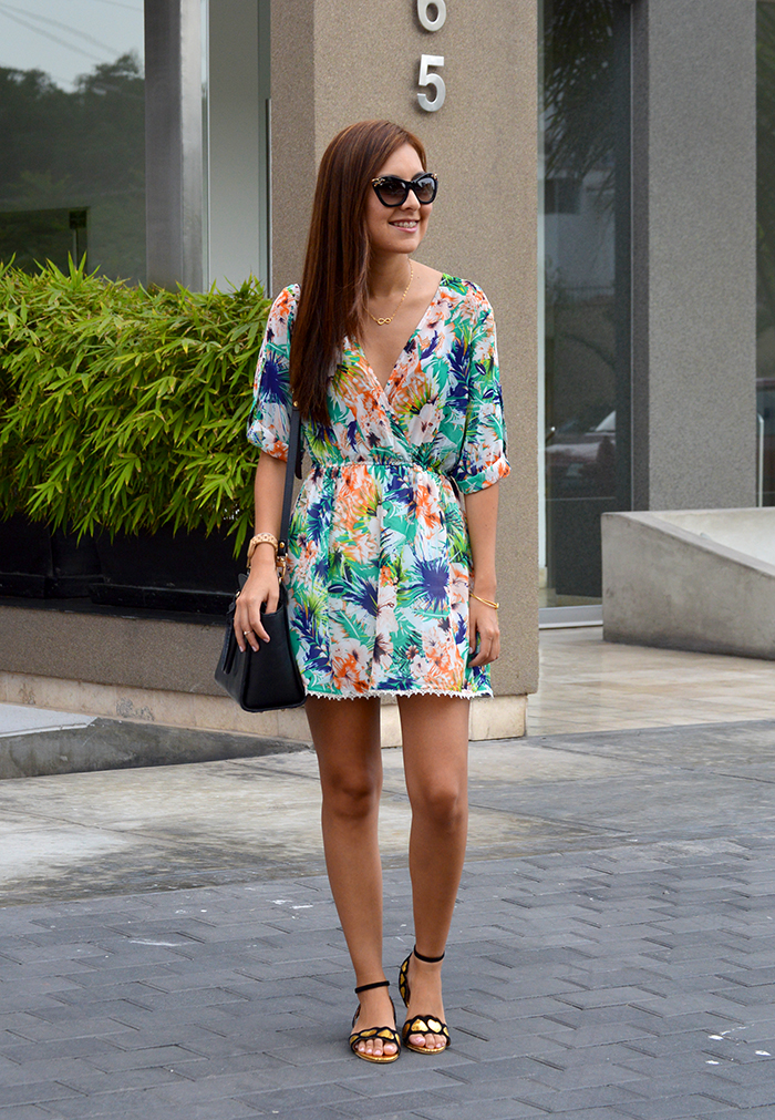 tana rendon vestido print tropical blogger perusns
